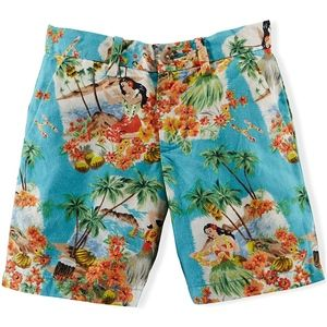 Boys Linen Blend Tropical Hawaiian Print Shorts 12